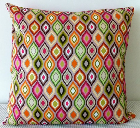 Colorful geometric contemporary cushion cover slip by miaandstitch