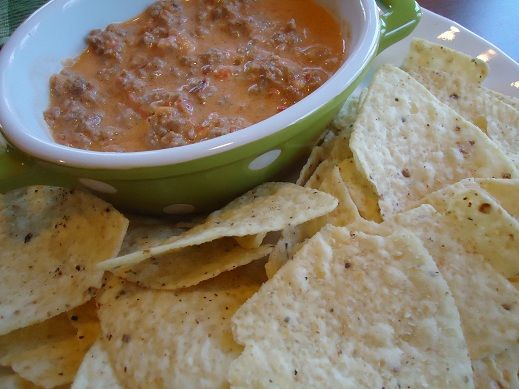 """An alternative to Velveeta & Rotel dip that doesn't require a """"processed cheese food"""". For my family we used sausage (instead of beef), rotel (instead of salsa), light whipping cream & block cheese that we shredded. (Have you looked at the ingredients list for shredded cheese or Velveeta? Yuck.)"""
