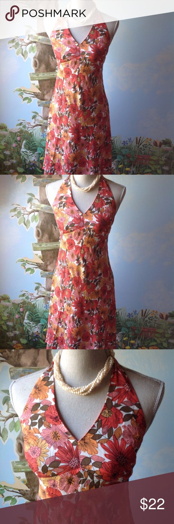 "Ann Taylor Loft Petite Women Dress Floral Size 6P Ann Taylor Loft Petite Dress Women Sheath Halter Orange Floral  Dress Size 6P  Pre-owned in good used condition  o The Dress is Fully Lined, Halter, Back Zipper.    Color: Orange Floral.   Measurements   o Approx. length of the dress: 40""  o Approx. Around the bust: 32""  o Approx. Around the waist: 30""  o Approx. Around the hip: 40""  100% Rayon Ann Taylor Loft Dresses"