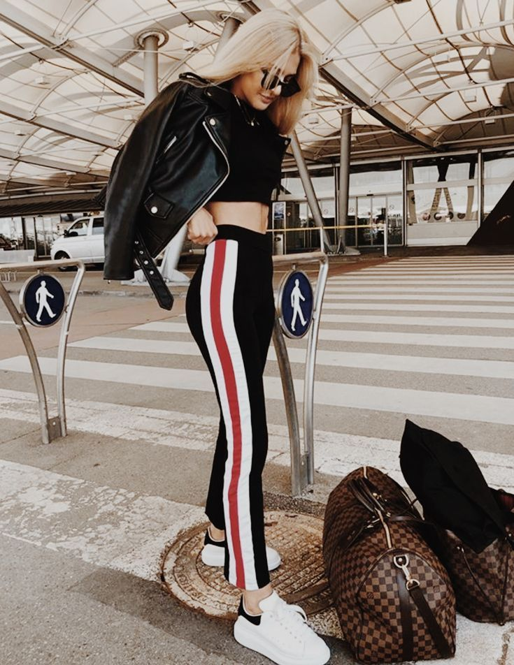 3cd1f8077bb028 black side stripe racing strip legging sweat pants, atheliesure, women's  clothing, crop top, leather jacket, white sneakers outfit daytime athletic  how to
