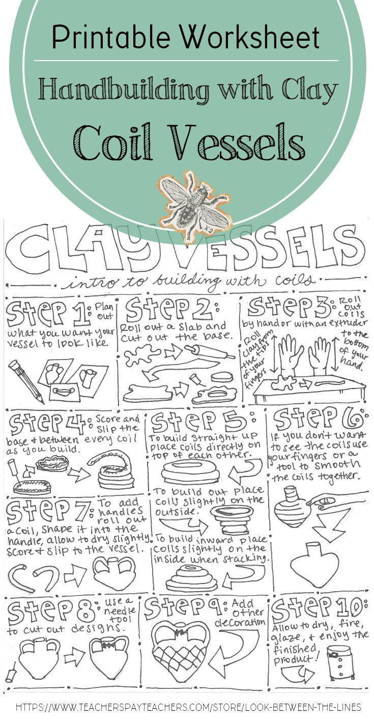 This Printable Worksheet Includes Written Instructions And Visuals For How To Build A Coil Clay Vessel Clay High School Art Lessons Clay Box Pottery Lessons