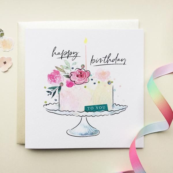Katie Phythian Happy Birthday Cake Card Perfect For Wishing Someone Special A Happy Watercolor Birthday Cards Birthday Cake Card Happy Birthday Greeting Card