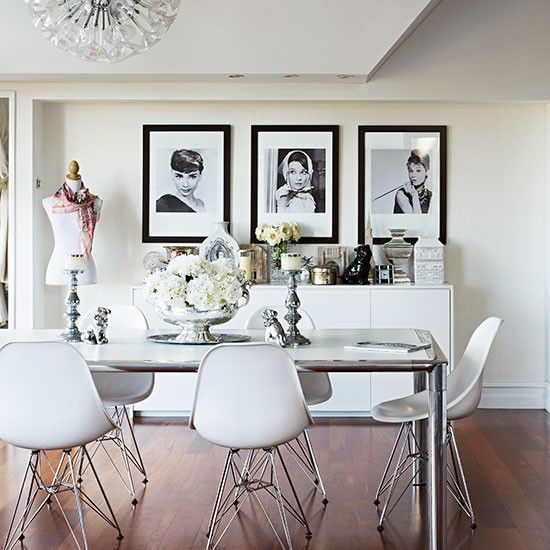 White dining room with designer chairs | Decorating ideas