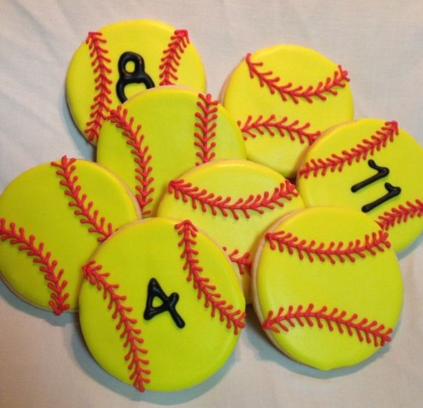 Softball Decorated Sugar Cookies - 12 Pieces by Sugar Love & Happiness on Gourmly