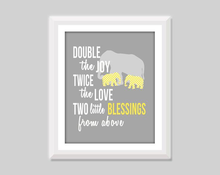 Twin Blessings Print, Elephant Twin Nursery Decor, Boy Girl Twin Nursery Art, Twin Boy Nursery, Twin Girls Nursery Twin Baby Gift Twin Quote by SweetPapelDesigns on Etsy https://www.etsy.com/listing/201443314/twin-blessings-print-elephant-twin