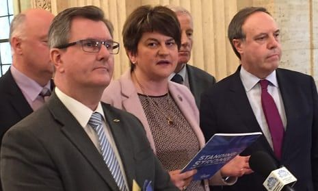 Arlene Foster speaks to the media