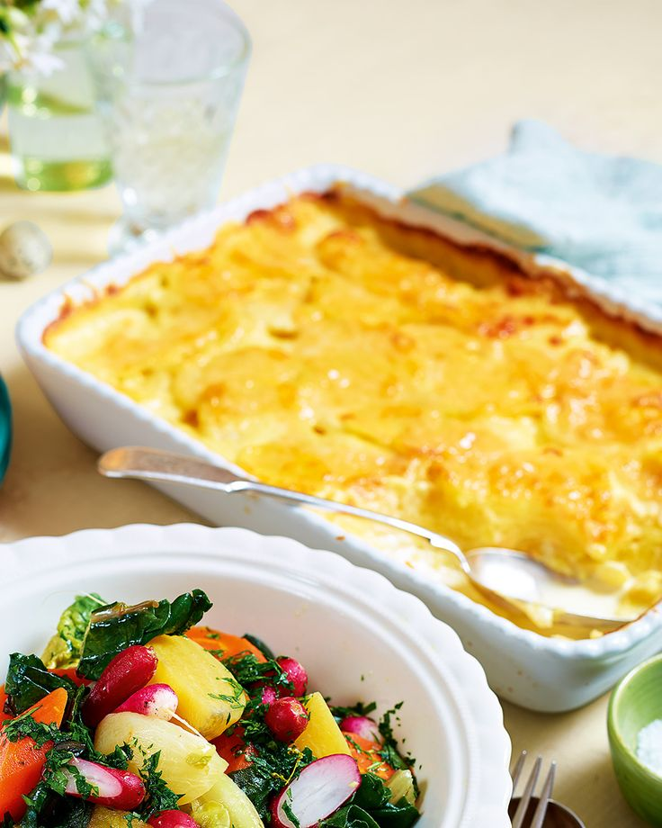 Raymond Blanc's gratin recipe is made with layers of tender potato cooked in a rich garlic cream topped with a generous sprinkling of gruyère cheese. The side dish goes well with any roast dinner, but especially beef.