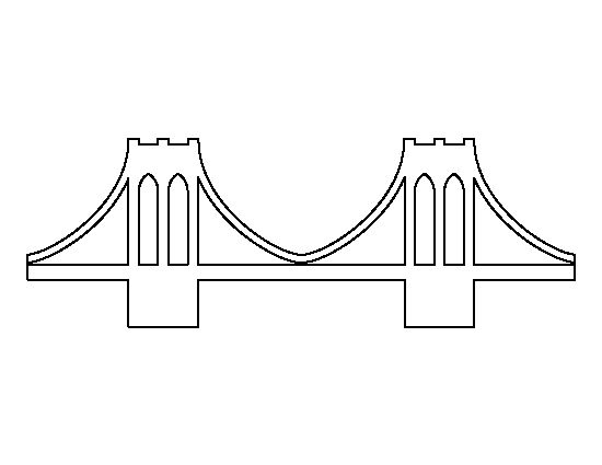 Brooklyn Bridge pattern. Use the printable outline for crafts, creating stencils, scrapbooking, and more. Free PDF template to download and print at http://patternuniverse.com/download/brooklyn-bridge-pattern/