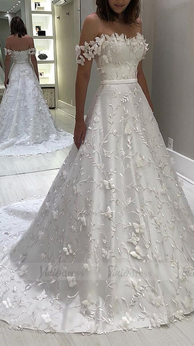 Vintage Off The Shoulder Lace Wedding Dresses With Butterflies Bridaldress Weddings Wedding In 2020 Online Wedding Dress Cheap Bridal Dresses Wedding Dress Couture