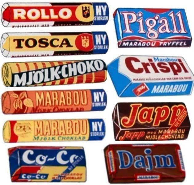 Godis 1960-talet - Marabou, Cloetta, dajm, dixi, rio, japp, crispi, domino, figaro, pigall