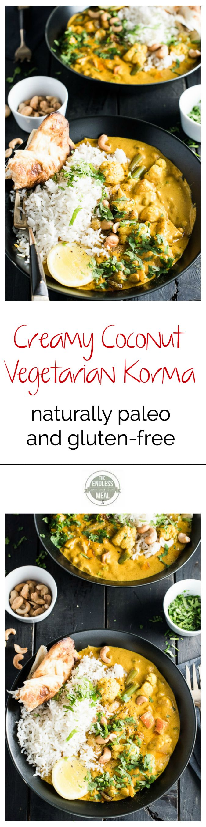 This easy to make Creamy Coconut Vegetarian Korma makes a great go-to Meatless Monday meal. It's naturally paleo and gluten-free and can easily be made vegan. Serve it with a side of rice, quinoa or cauliflower rice for a quick and delicious dinner. | theendlessmeal.com