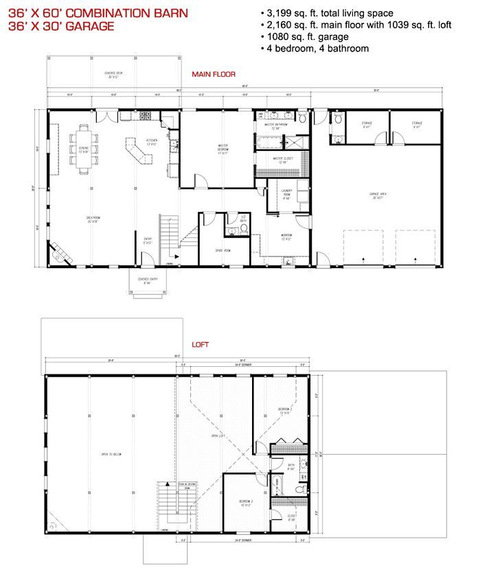 36x32 floor plan pre designed combination barn home kit for Garage floor plan software
