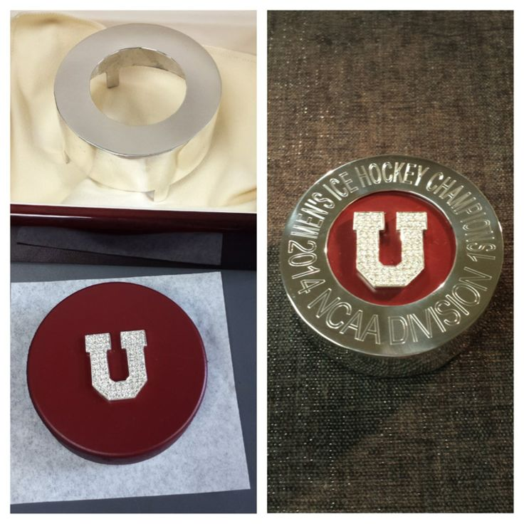 Take a look at these before and after photos of the hockey pucks our expert jewelers crafted for Union College President Stephen C. Ainlay, Athletic Director Jim McLaughlin and Men's Hockey Head Coach Rick Bennett to commemorate the team's historic win!
