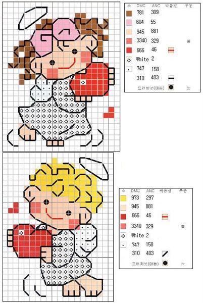 Schema punto croce Angioletti-piccoli