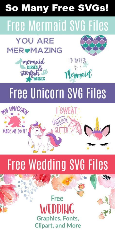 DIY Craft: This page is FULL of free SVG files for crafting on Cricut and Silhouette. Unicorns, mermaids, back to school, weddings - so many! <a class=