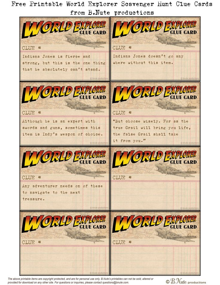 Free Printable World Explorer Indiana Jones Scavenger Hunt Game