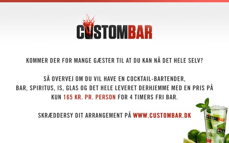 Med CustomBar kan du koncetrere dig om at have det sjovt med dine gæster! Vi leverer bar inkl. dygtige cocktail bartendere, udstyr, is, spiritus, glas, mm. hjemme hos dig, servicerer dine gæster og tager resterne med os, når vi går.