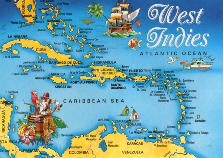 West indies Map. Explore less visited parts of the