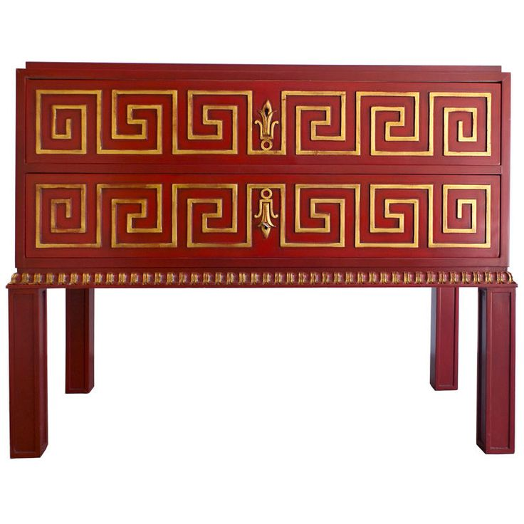Swedish Art Deco Red Lacquered Commode Decorated With Gilded Greek Key  Pattern. Designed By Axel