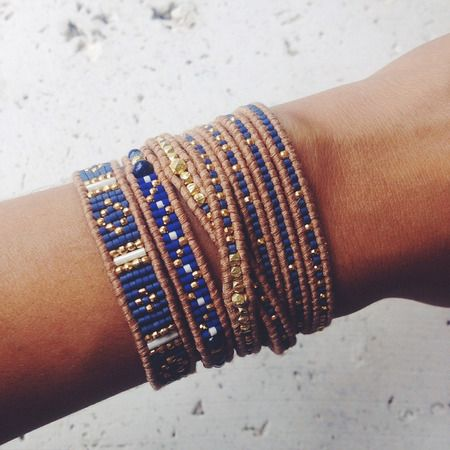 Lapis Mix Single Wrap Bracelet on Beige Leather - Chan Luu