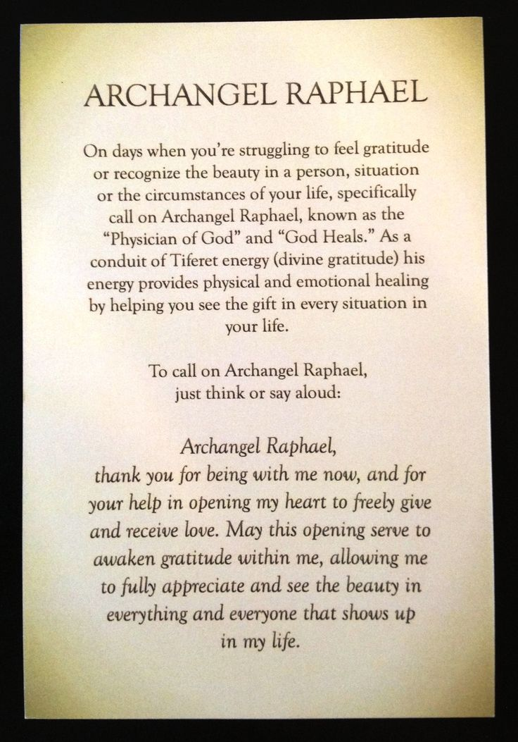 A short prayer/meditation for Archangel Raphael by Rebecca Rosen.