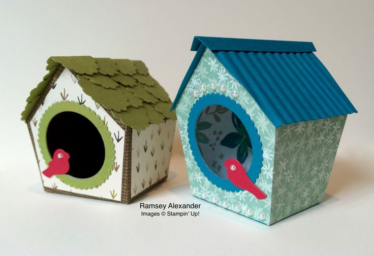 Stampin Up birdhouses created from the Home Sweet Home Thinlits.