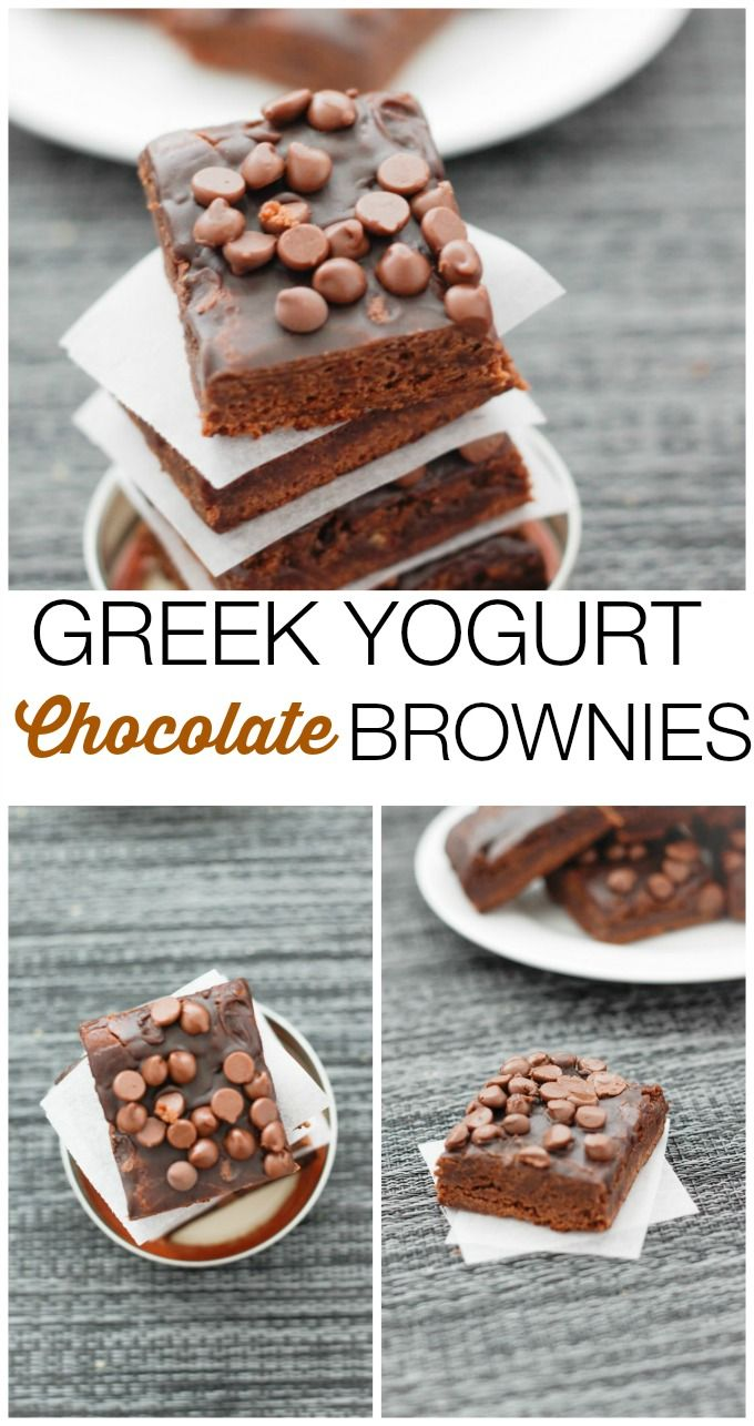 Greek Yogurt Chocolate Brownies, a lightened up version of a classic fave! {thebigmansworld}