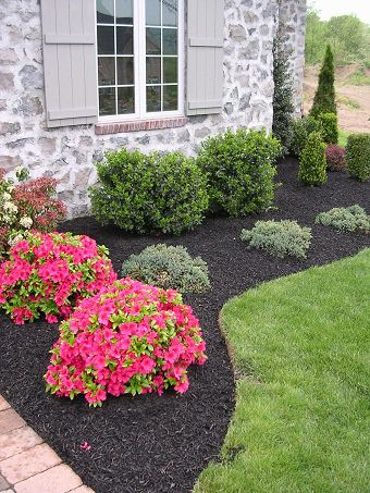 Simple landscaping at your home's foundation in your front yard - like this free-form bed with crushed rock mulch and a variety of shrubs - can really create curb appeal. Description from pinterest.com. I searched for this on bing.com/images