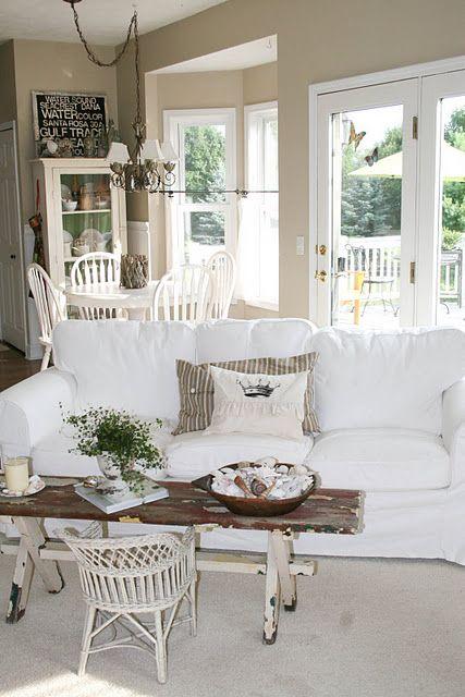 pretty paint. white slipcovered sofa