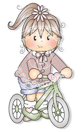 Digital Digi Jodie on Bike Stamp Little Girl by PinkGemDesigns