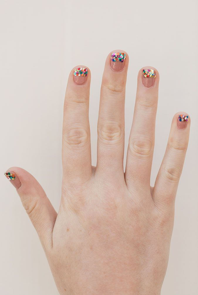 Simple glitter tipped mani tutorial on LaurenConrad.com