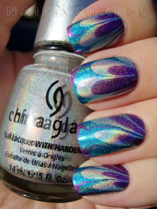 Holographic water marble manicure
