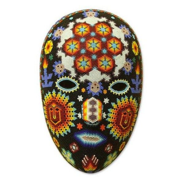 NOVICA Huichol Peyote Mask with beadwork (€91) ❤ liked on Polyvore featuring home, home decor, masks, mexican huichol masks, novica home decor, deer home decor, novica masks, handmade home decor and novica