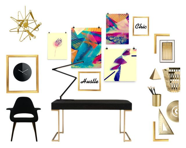 Eclectic interior inspired in simple color palette of pink and turquoise. Beautiful gallery wall with mixture of paintings and black and white photo decor. #eclectic #turquoise #gallerywall #livingroom #magnolia Chic Home Office by kacix on Polyvore featuring interior, interiors, interior design, home, home decor, interior decorating, Nuevo, Frontgate, Ghidini 1961 and Alessi