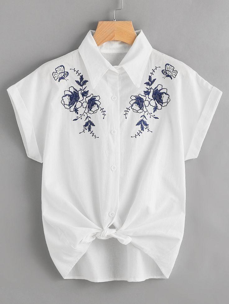 Blusa de bordado con nudo en la parte delantera-Spanish SheIn(Sheinside)