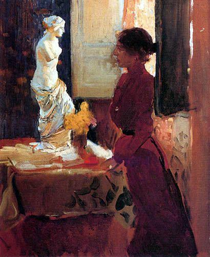 Joaquin Sorolla y Bastida (1863-1923) : Clotilde Contemplando de Venus de Milo.