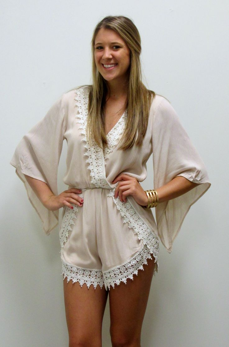 14932bdc87a7 Adorable taupe romper with beautiful lace detail. Love it! New and in store  at. Apricot Lane ...