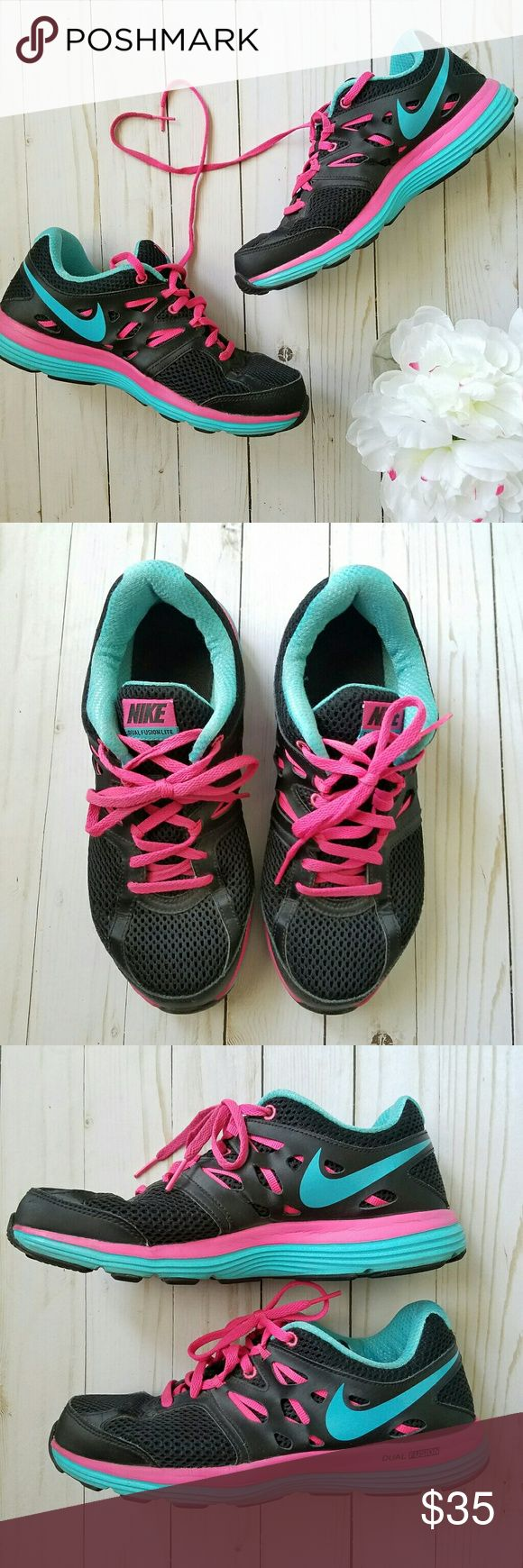 Nike Dual Fusion Lite Nike Dual Fusion Lite tennis shoes - sneakers. Womens size 8. Black, pink, and blue. Excellent condition! Nike Shoes Athletic Shoes