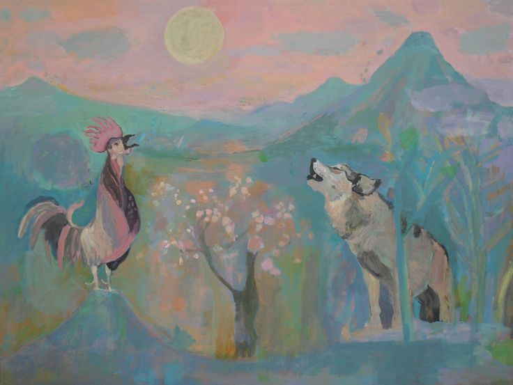 El lobo y el gallo cantan a la luz de la luna | Ilustración de Iria | Flecha