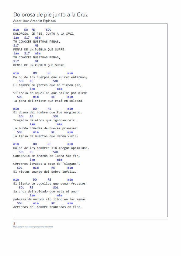 Acordes De Dolorosa De Pie Junto A La Cruz Letras Y Acordes Canciones Letras