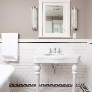 clay squared bathrooms taupe walls taupe wall color white subway tile - Tile Walls In Bathroom