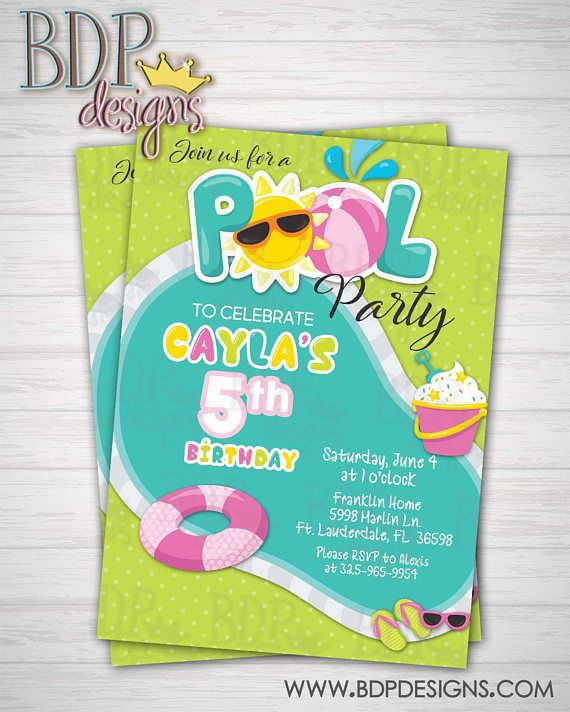 8 best Summer Pool Party Birthday images on Pinterest Candy bar - birthday invitation swimming party