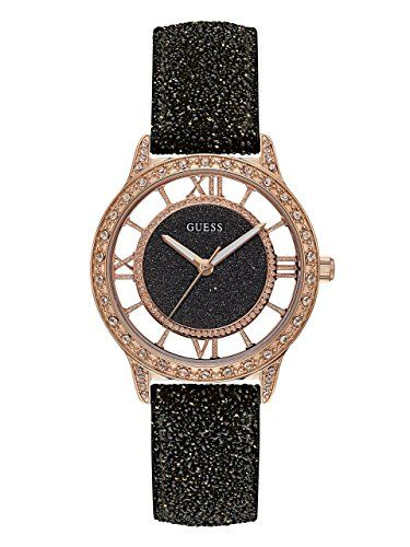 ba9cde0d4 GUESS Womens Quartz Stainless Steel and Leather Casual Watch ColorBlack  Model U1014L1 *** You can get more details by clicking on the image.