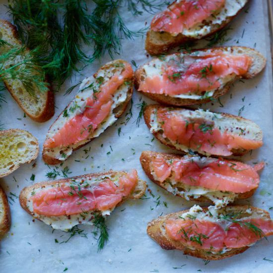 Smoked Salmon Toasts with Mustard Butter // More Fast Hors d'Oeuvres: http://www.foodandwine.com/slideshows/fast-hors-doeuvres #foodandwine