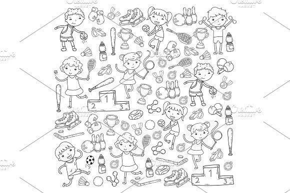 Boys and girls playing sports illustration Fitness, football, soccer, yoga, tennis, basketball, hockey, volleyball. Student #background #vector #soccerBoysandGirls #soccerexercises