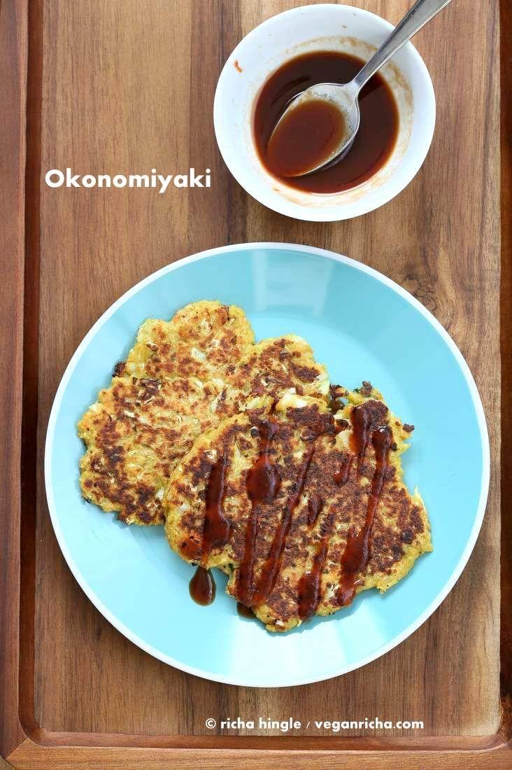 Vegan Okonomiyaki - Cabbage Carrot Pancakes. Japanese Okonomiyaki made vegan. Served with home made tonkatsu sauce.