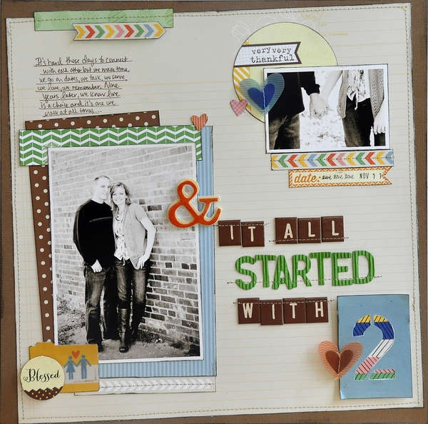 It All Started with 2 - by Jill Cornell using the Amy Tangerine Ready Set Go collection from American Crafts. #scrapbooking #amytangerine