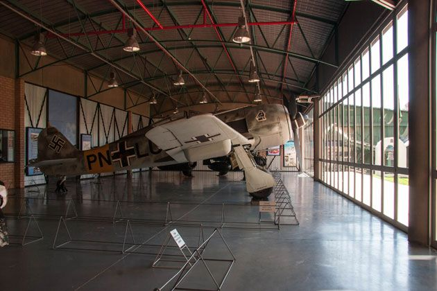 Focke-Wulf a fighter aircraft used in Germany in the Second World War.  http://citysightseeing-blog.co.za/2014/06/07/ditsong-national-museum-of-military-history-johannesburg/