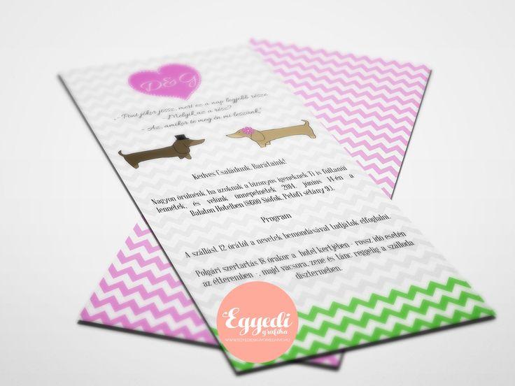 Vidám rózsaszín-zöld kombinációjú esküvői meghívó tacskókkal megspékelve | Nice wedding invitation with pink-green combonation and dogs