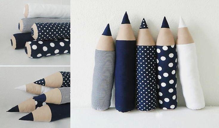 Kissen Buntstifte // pencil pillows by Märchen von der Lichtfarbe WEISS via DaWanda.com